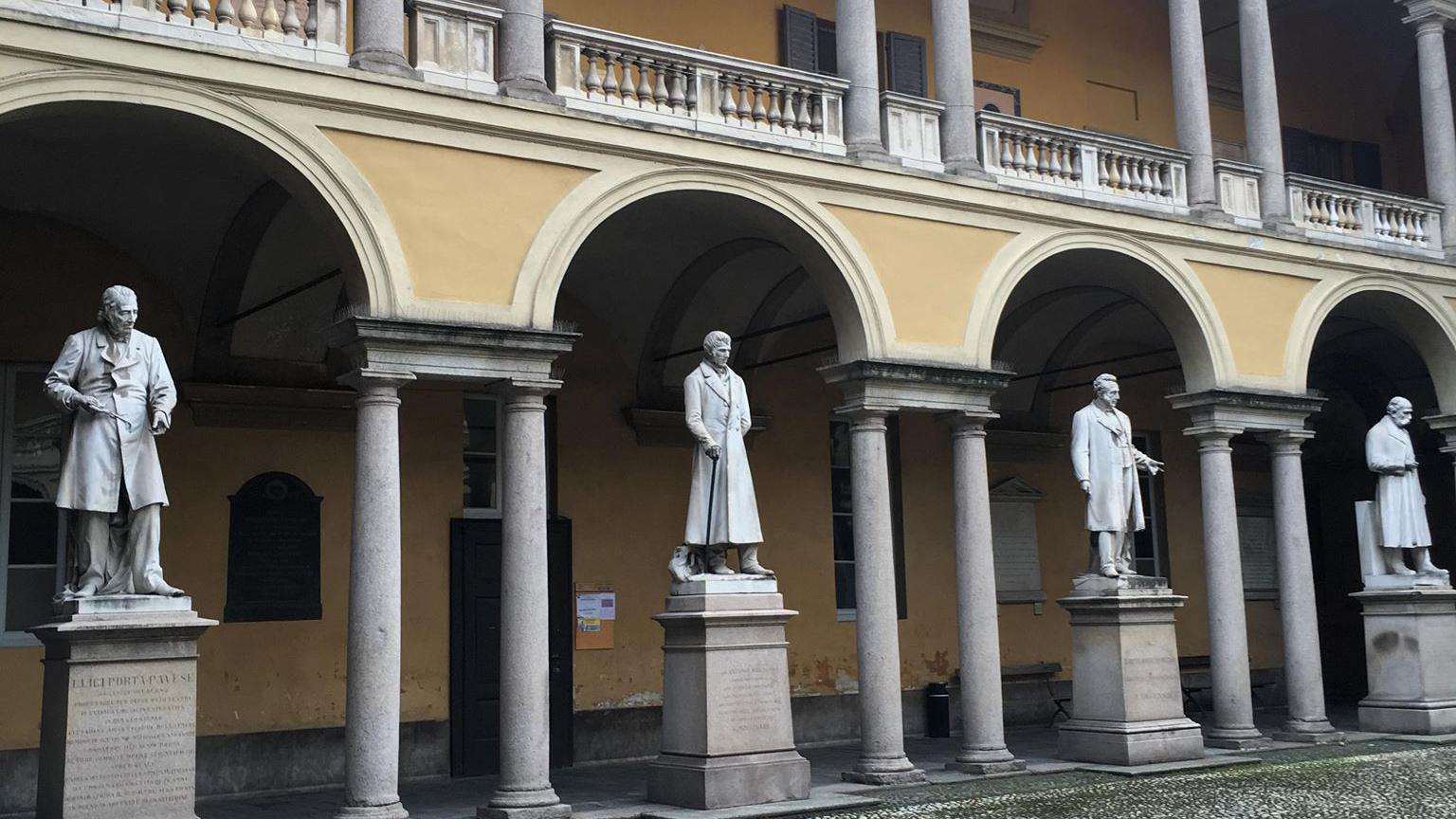 statues in the courtyard of Palazzo Vistarino, the student residence in Pavia