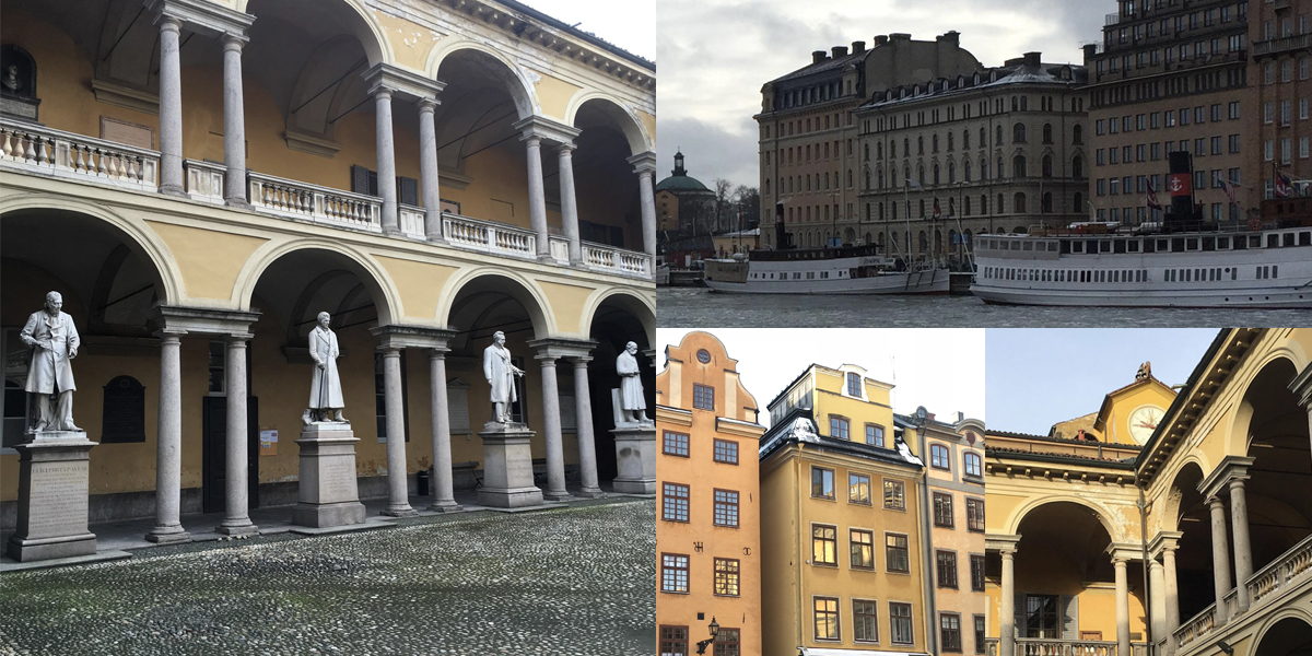 composite of four images: statues in courtyard, hotel viewed from bay, Stockholm plaza, and second-floor arches